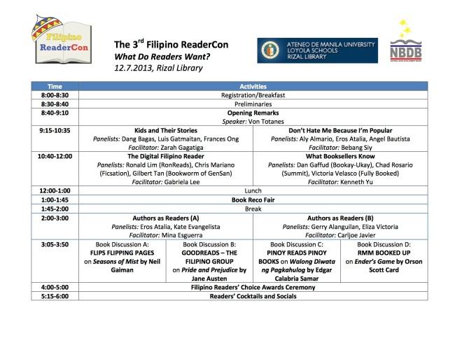 The 3rd Filipino ReaderCon - Program (12-2-2013) copy